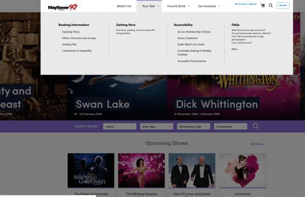 Mayflower Theatre website menu design