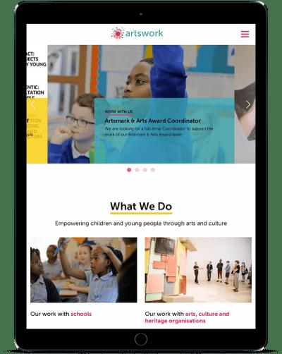 Artswork website tablet mockup