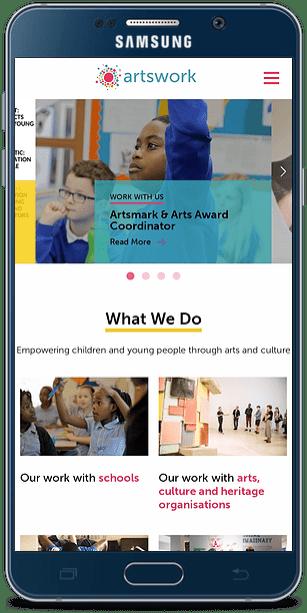 Artswork website smart phone mockup