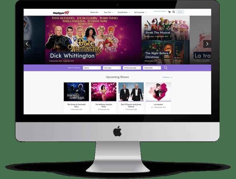 Mayflower theatre website desktop mockup