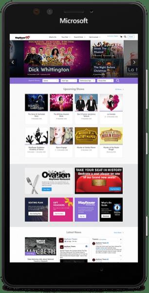 Mayflower theatre website smart phone mockup