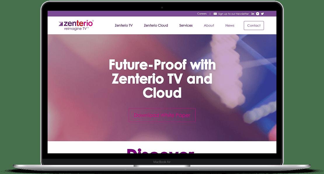 Zenterio website laptop mockup