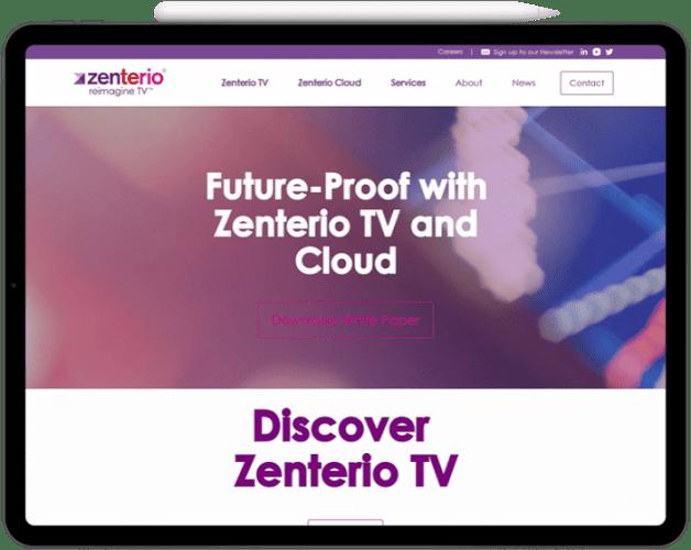 Zenterio website tablet mockup