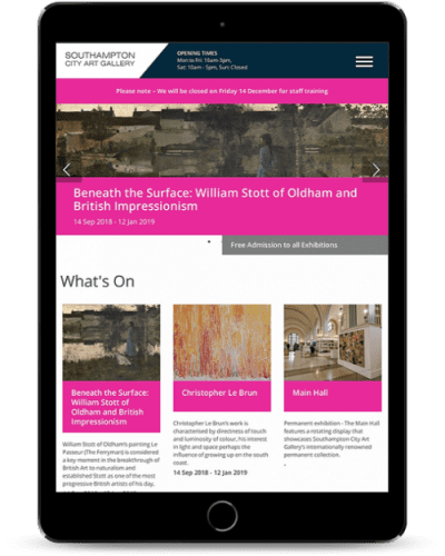 southampton city art gallery tablet