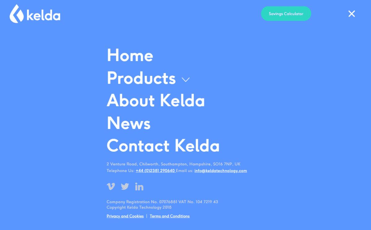 Kelda website design