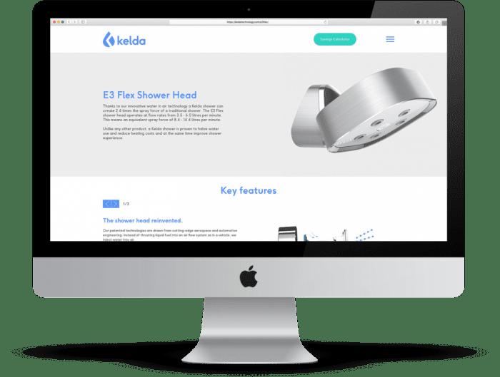 Kelda website desktop mockup