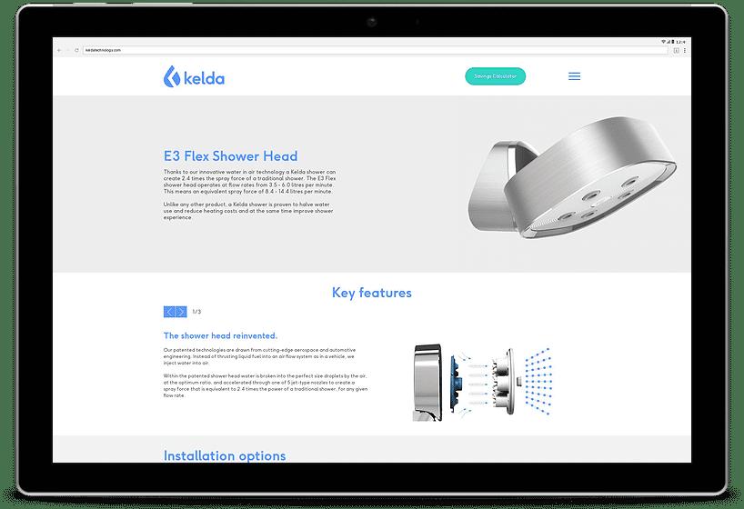 Kelda website tablet mockup